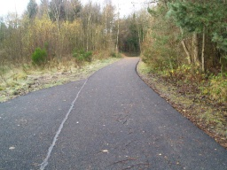 The trail has a tarmac surface and is wide enough for two people to walk side by side throughout.