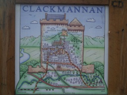 An information sign shows how the trail passes through Clackmannan.