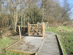 There are three gates into Yell Wood. The wicket gate seen here is the most accessible as it is fitted with a trombone latch.