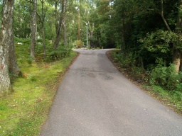 The tarmac entrance road has a gradient of about 13% (1:8) for approximately 25m