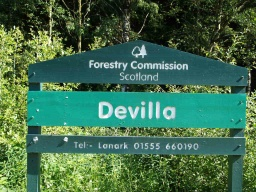 The car parking area is marked by the Devilla Forestry Commission signs.