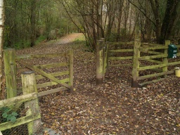 The trail  passes through the gate at the car park. The gate on the left can be used without having to go into the kissing gate.