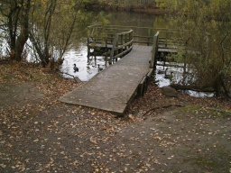There is a viewing platform on the pond which is reached along a short ramp with a gradient of 10% (1:10). There is a small step (50mm) to get onto the ramp.