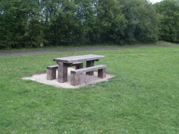 Another picnic table is available in the grass by the main trail.