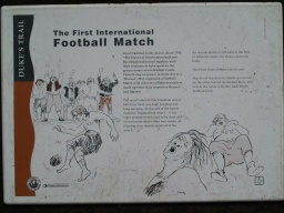 First International Football Match sign