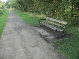 There are several benches along this area of the park