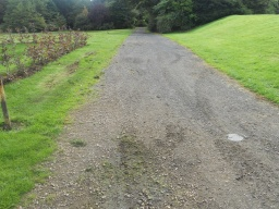 The path begins to change from tarmac to a crushed stone surface
