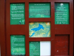 An information board provides details of the trail and the area.