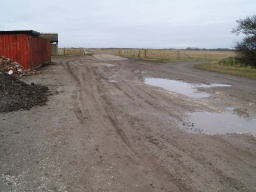 Cross the farm yard which may be muddy and uneven at times to the tarmac road.