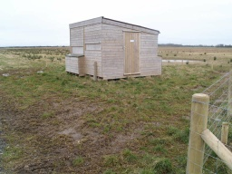 The hide has spaces for wheelchair users facing in both directions but there is a 300mm step to get into the hide.