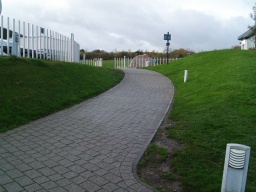 The ramp up to the Falkirk Wheel Visitor Centre runs for about 40m and has a slope up as steep as 13% (1:8) and cross slopes with gradients of 7% (1:14)