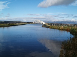The Union Canal links to the top level of the Falkirk wheel.