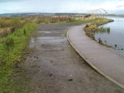 There may be occasional puddles on the path after wet weather.