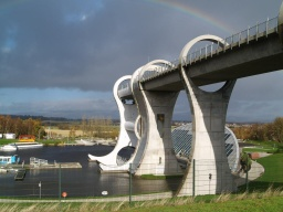 The full structure of the Falkirk Wheel can be see from this position.