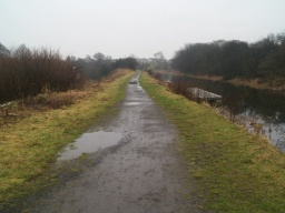 The path is level but uneven in places with puddles after wet weather.