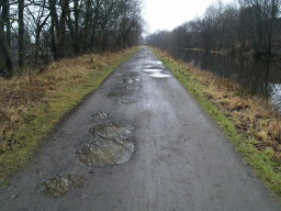 Potholes or puddles after wet weather can be right across the path.