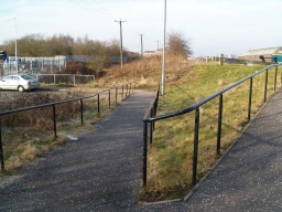 The ramp down to Abbots Road is no steeper than 8% (1 in 12).