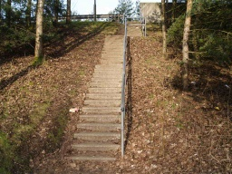 There are steep steps with a handrail up to the bridge over the railway.Turn right at the top of the steps.