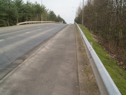 The slope over the railway bridge has a gradient of 7% (1 in 14).