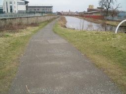 There is a slope with a gradient of 10% (1 in 10) for 15m next to the lock.