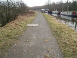 The tow path surface is firm but a little uneven all the way along.