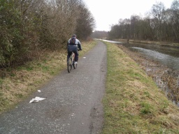The tow path is shared by walkers and cyclists