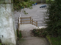 A flight of steps connect to the car park of the Rosebank Distillery.