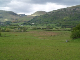 There are fine views of the Ochils from many points along the trail.