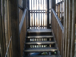 There are 48 steps to the top level of the view platform. Wooden handrails are provided all the way up.