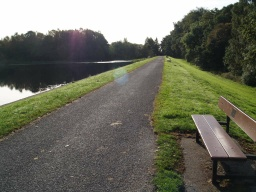 There are seats located approximately 50 metres apart across the dam.