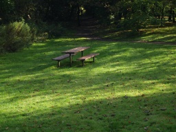 There is a picnic style table off the path, there is no pathway to the table.