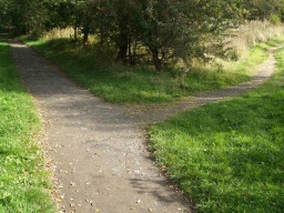 To follow the route around the reservoir, keep left where other paths join.