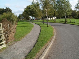 There is a crushed stone path that also leads back to the visitor centre.