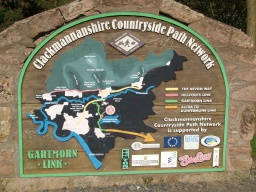 There is an interpretation board with a map of the main path links in Clackmannanshire.