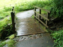 A small step, tread obstacle, occurs at the bridge. The surface may be slippery when wet.