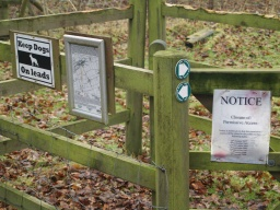 Information about the trail and other paths in the area is given on the signs on the gate.