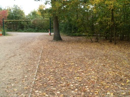 The car park for the Country Park has a number of bays that are entered under the height barriers. The surface is compacted stone and generally level and even.