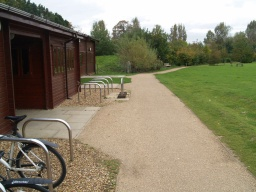 The path passes the front of the countryside centre.
