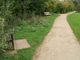 There are about 10 seats and benches along the walk but they are not at regular intervals
