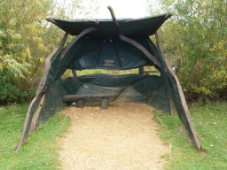 The hide has a low seat and space for a wheelchair user to get close to the viewing window.