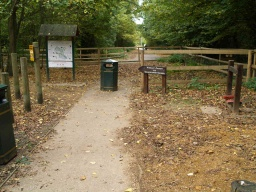 The path runs down a gentle slope to the direction signs and information board where this walk starts.
