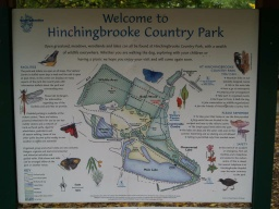 An information board given details of the paths and activities available in Hinchingbrooke Country Park.