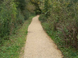 There is a cross gradient of about 6% (1:17) for about 30m along this section of path.