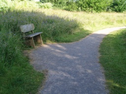 Seats are provided by the edge of the path