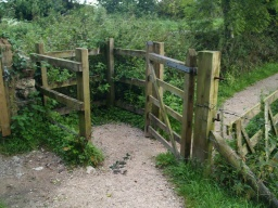 This is the first of two kissing gates on the route. The width is about 700mm and the depth about 750mm