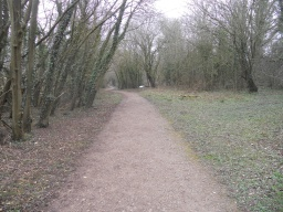The path meanders through pleasant woodland, alive with birdsong.