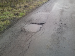 Another pot hole in the Drum Road