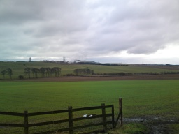 Countryside and Mossmorran from the south side of the bridge.
