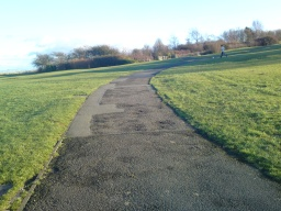 The path is tarmacked but a bit uneven. There is a slope for the first 400m or so.