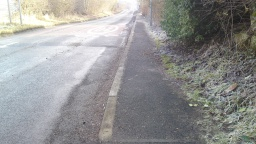 The footway is narrow, about 90cm wide for about 130m
